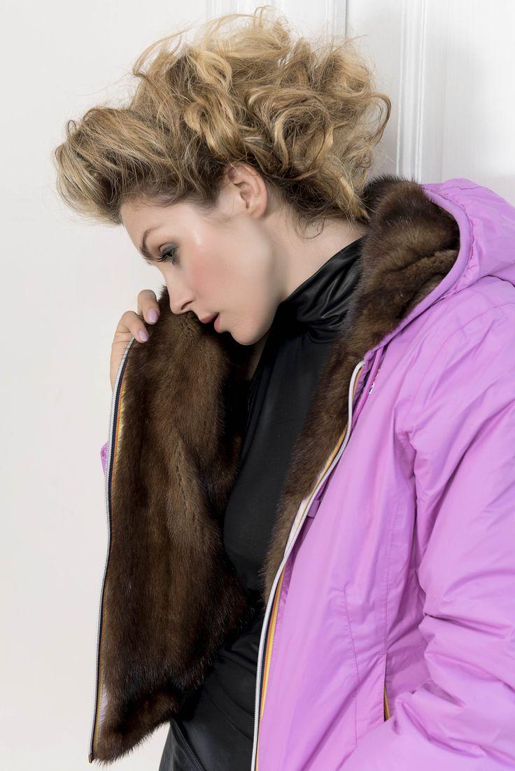 Furbe Transformer by Borello official e-tailer K-way. Reversible K-Way Jacket Trasforma la tua pelliccia in un capo nuovo ed esclusivo #fur #kway #jacket #reversible #pelliccia #Torino #pink