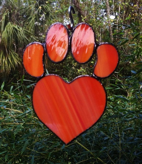 Orange Stained Glass Dog Paw Pad with Heart Sun Catcher Great Gift for Dog Lovers!