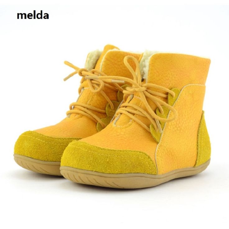 Children'S Genuine Leather Boots New Winter Boys Snow Boots Kids Shoes For Girl Soft Outsole Fashion Lace-Up Plush Leather Boots