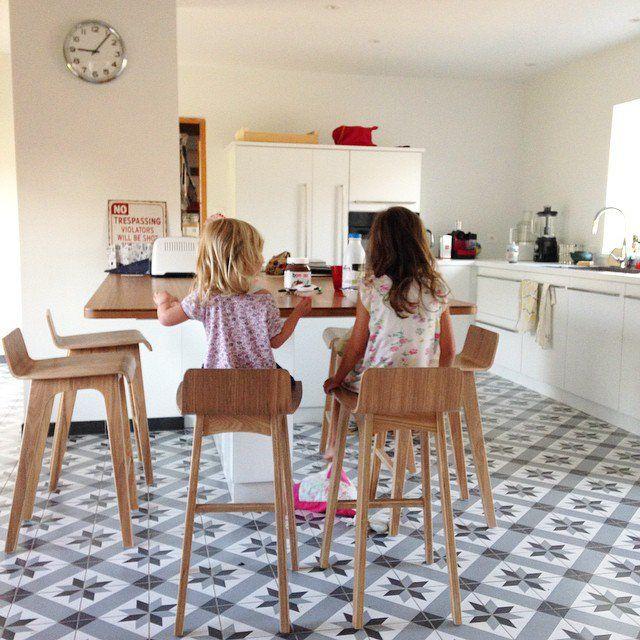 Carreaux de ciment dans la cuisine, home, kitchen, décoration cuisine