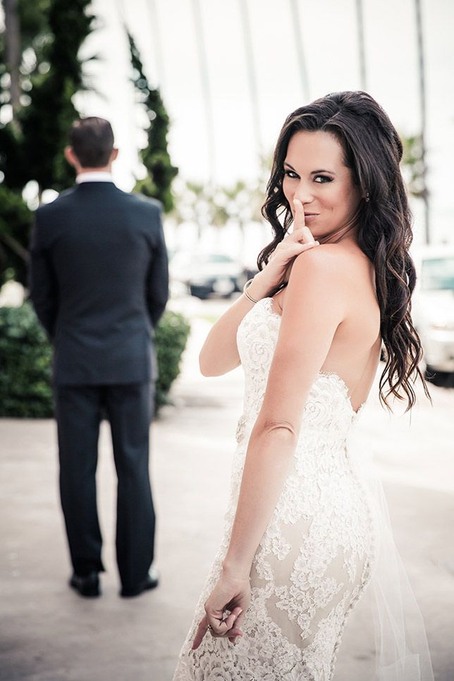 The bride anticipating the groom's first look is always exciting! (Real Wedding: Briana in Anne Barge).