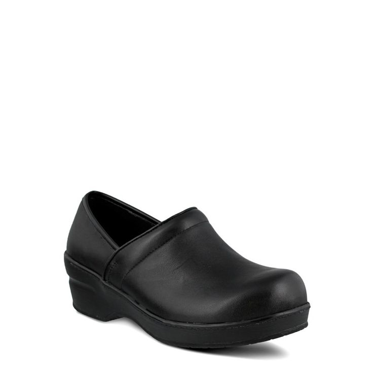 Spring Step Women's Selle Wide Slip Resistant Clog Shoes (Black Leather) - 9.5 W