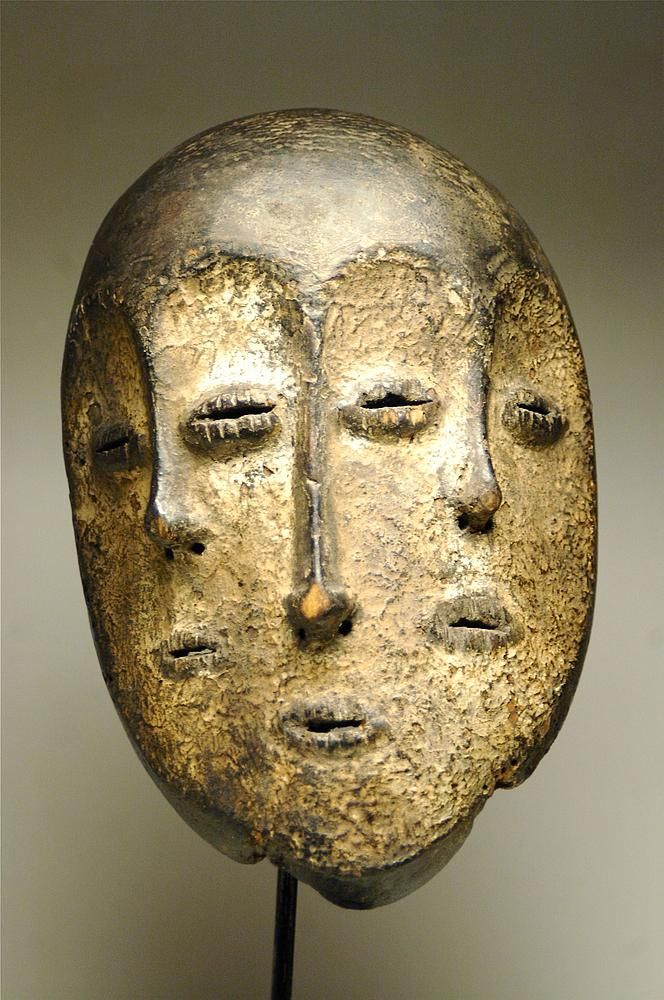 africa mask from the lega people of dr congo wood encrusted patina