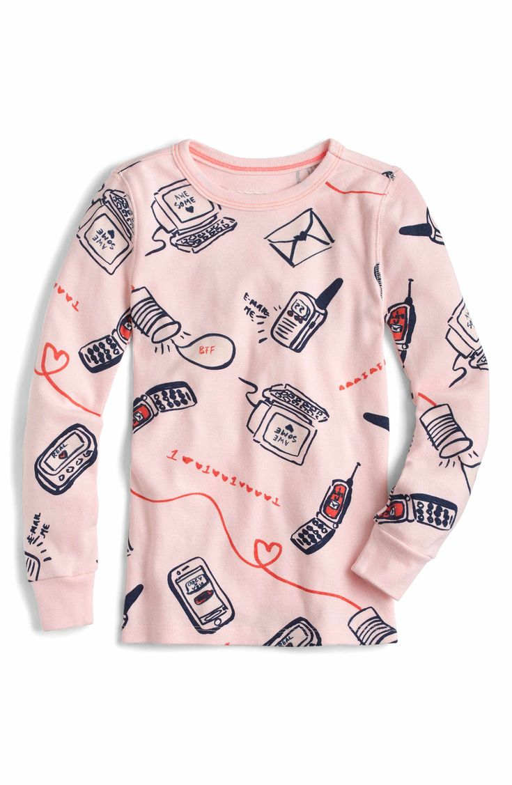Main Image - crewcuts by J.Crew Long Distance Relationship Fitted Two-Piece Pajamas (Toddler Girls, Little Girls & Big Girls)