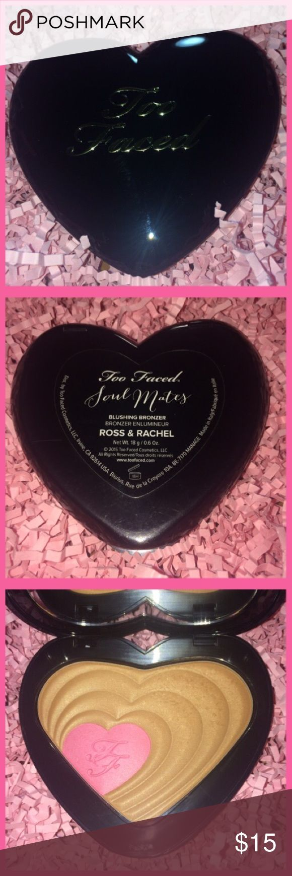 Too Faced Soul Mates Blushing Bronzer Too Faced Soul Mates Blushing Bronzer (Ross & Rachel) 18g/0.6oz Bronzer in Like New Condition only used maybe twice and Blush never used! ⭐AUTHENTIC⭐❤BUNDLE AND SAVE❤ Too Faced Makeup Bronzer