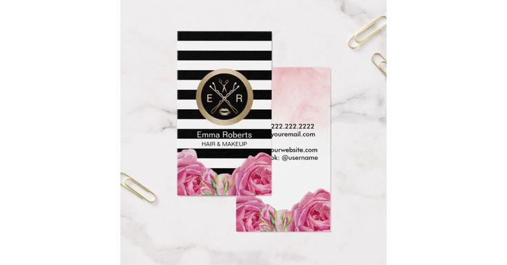 Makeup Artist & Hair Stylist Modern Stripes Watercolor Floral Business Card.