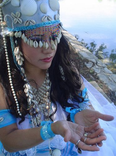Young woman in traditional Yemaya dress