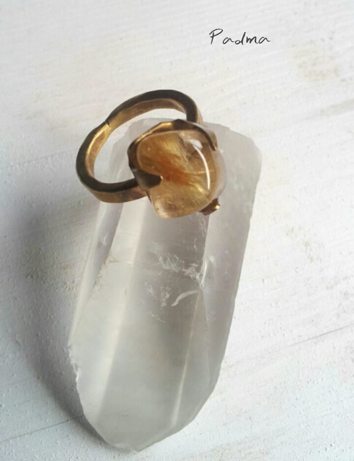 Sun, rutilated quartz, brass, brass ring, healing stones, boho, hippie, by PadmaJewels