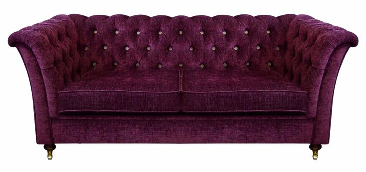 BOUTIQUE 2 - Chic Deep Button Chesterfield Style 2 Seater Sofa in Cover-Tex Cristina Marrone Velluto Ruby with Contrast Button Detail and Dark Oak leg finish