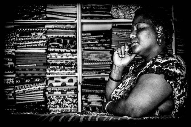 Daydreaming in the kitenge and kanga shop