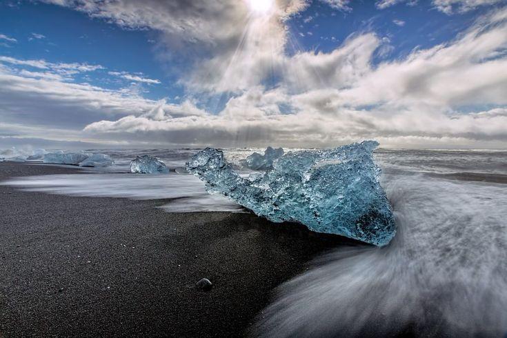 Black Sand Beach in Jökulsárlón, Iceland by Jesse R. Moran