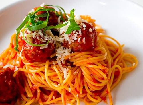 """Meatballs with Spagheti ,70""""EVDOMINDA""""evoo and Greek Tsipouro https://www.facebook.com/photo.php?fbid=395398007253627&set=a.209553119171451.44147.209491979177565&type=1"""