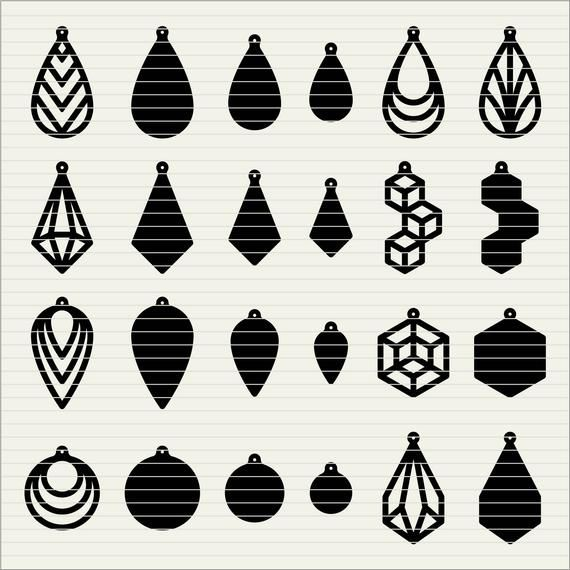 Svg Faux Leather Earrings Svg Teardrop Stacked Cutout