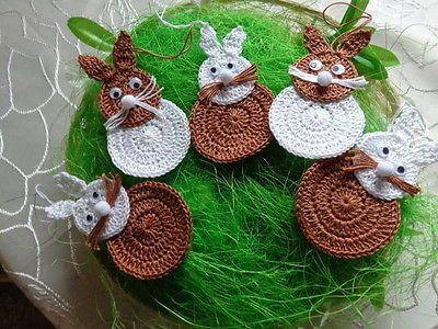 Hasen Hase gehäkelt Osterstrauss häkeln 5 Hasen 9 cm Ostern Osterschmuck n1