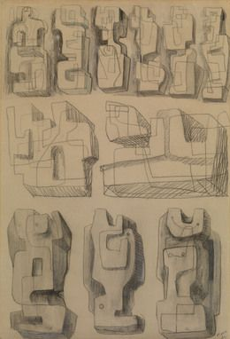 Henry Moore, 'Square Forms - Eleven studies for sculptures,' 1936, Waterhouse & Dodd