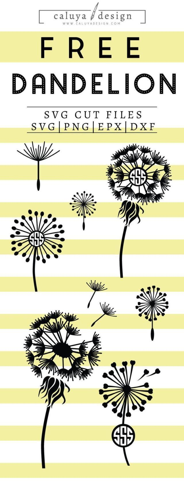 Free dandelion monogram SVG, PNG, EPS and DXF Free