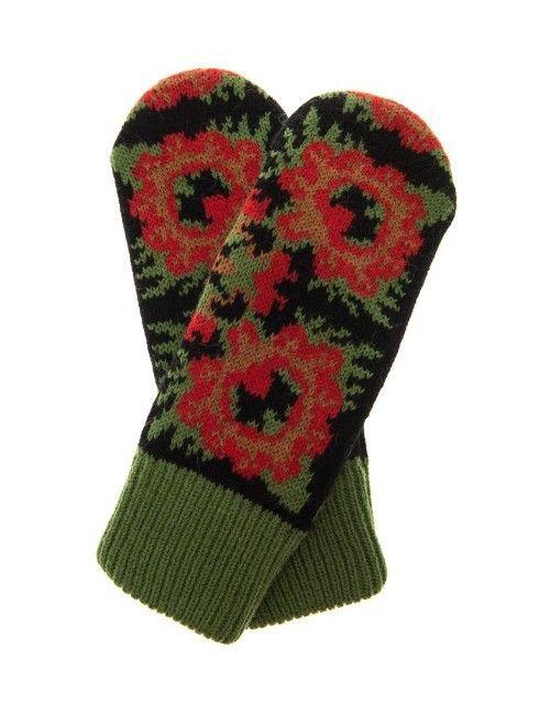 TAK. ORI Glowes flower knit mittens