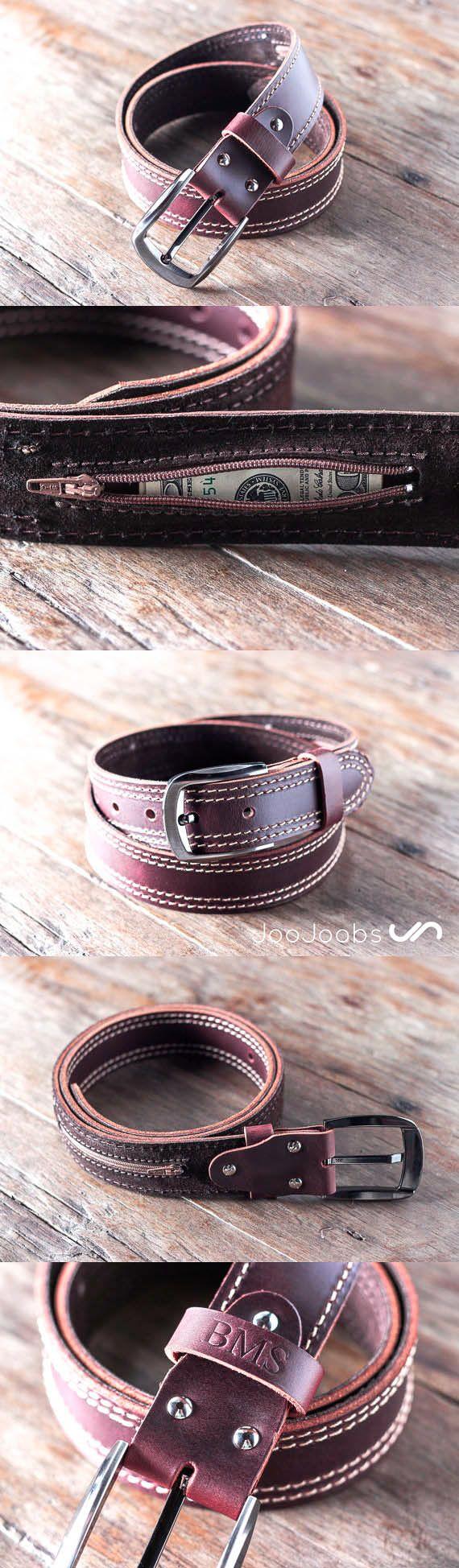 Handmade Mens Leather Belt by JooJoobs.com This belt has a secret, hidden pocket sewn into the inside lining. The belt is handmade and will last a lifetime. #JooJoobs #handmade #belt