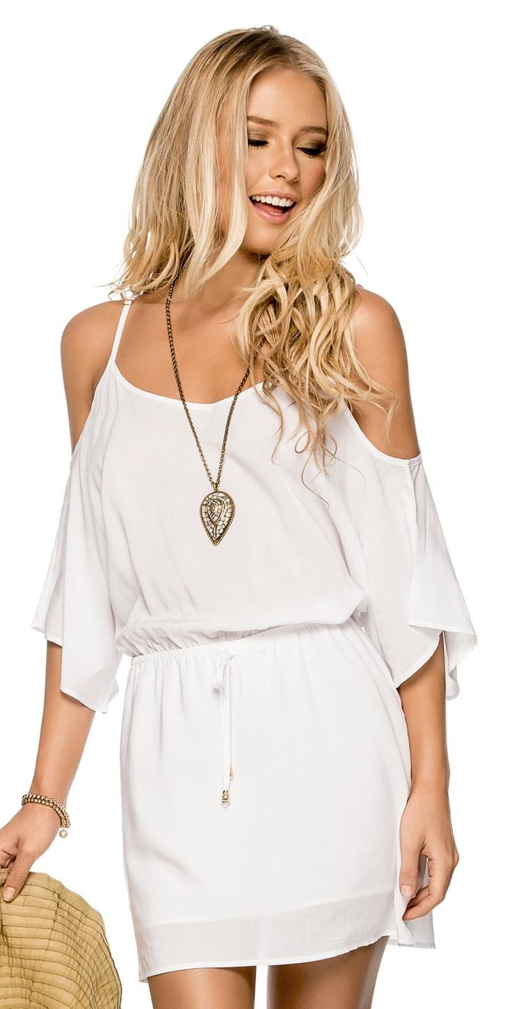 PHAX 2015 #White Dress #CoverUp is great to wear over your #swimsuits. southbeachswimsuits.com
