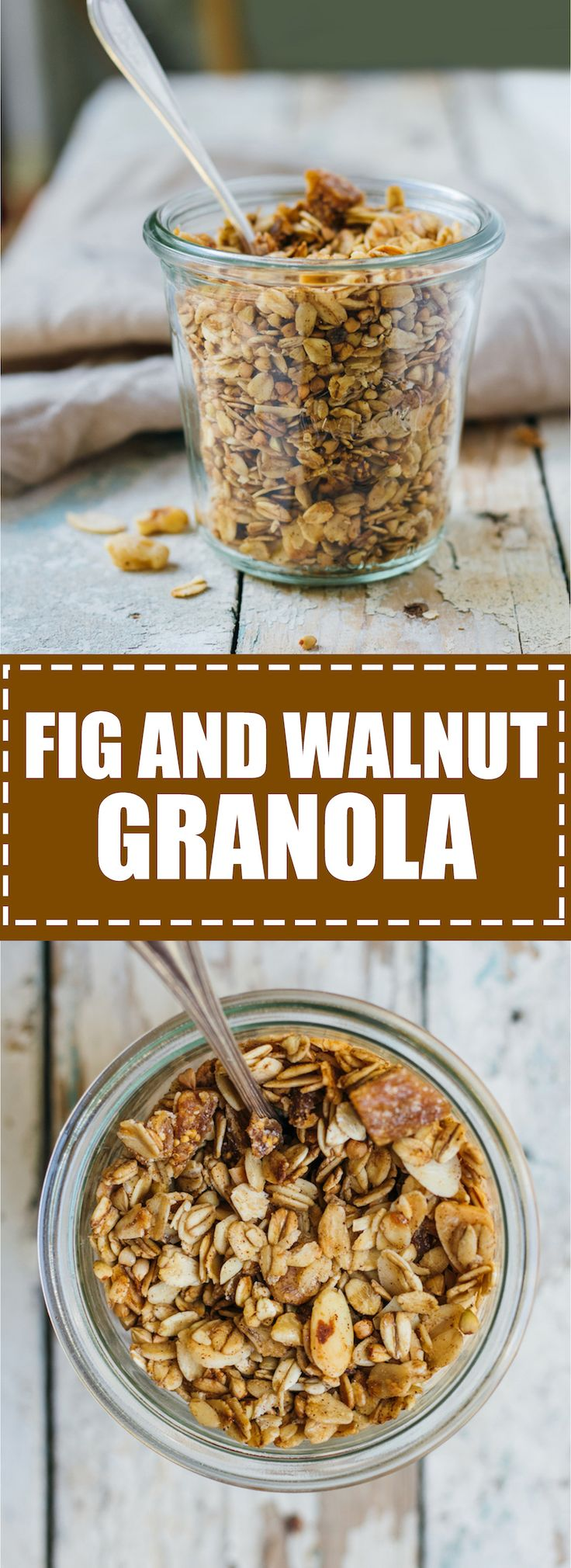 This is fig and walnut granola is loaded with comforting spices and chewy dried figs. It's also healthy and vegan!