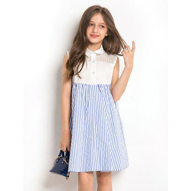 Dress Girl 10 year Summer Dress Sleeveless Striped hollowed