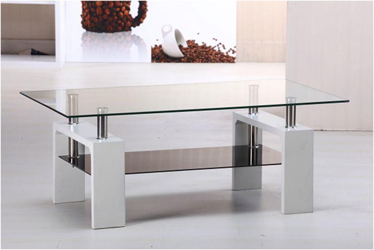 Mesa ratona de vidrio y patas laqueadas con estante lamuebleriaonline mesas bajas modernas - Patas conicas para mesas ...