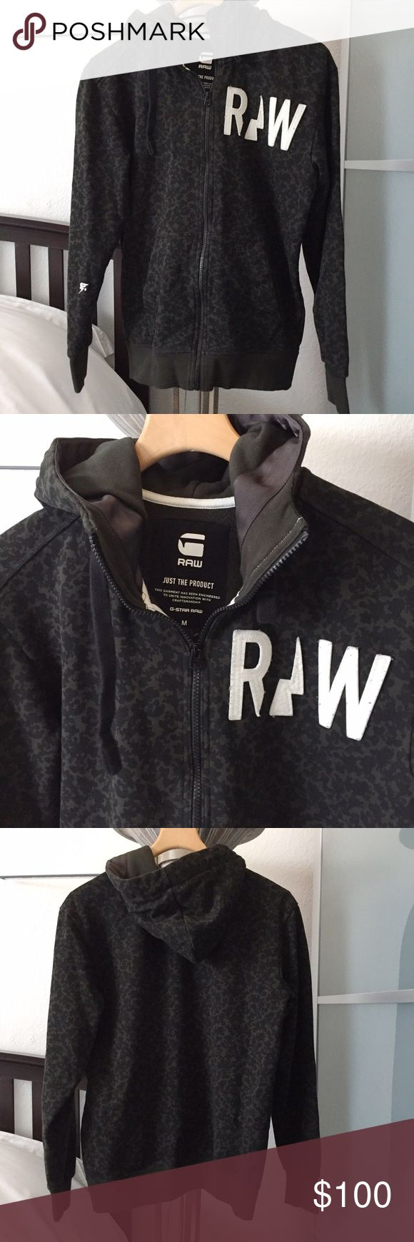 G-Star Raw Camo Hoodie Army green camo print zip up hoodie. Worn a few times. G-Star Jackets & Coats
