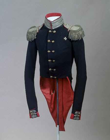 Uniform tunic of the Life Guards officer Izmailovo Regiment worn by Grand Duke Nickolai Pavlovich, circa 1812-1817.