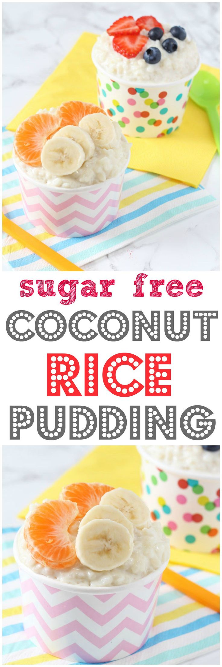 A delicious sugar free rice pudding recipe, naturally sweetened with coconut and great for weaning babies and children