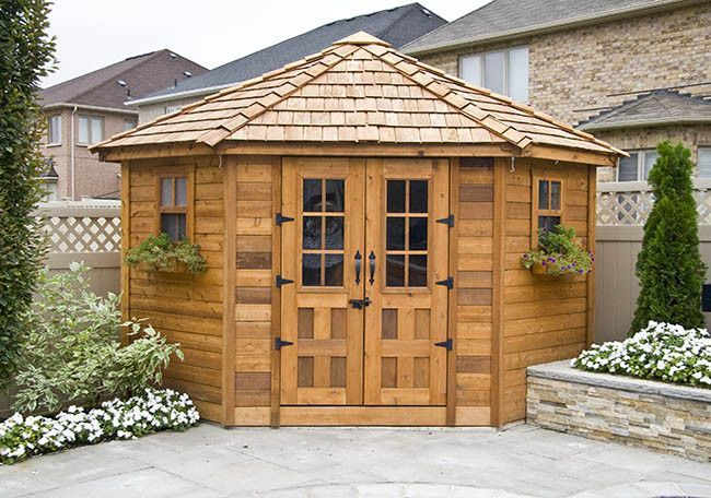 As a poolhouse or deluxe garden shed, the 9×9 Penthouse Garden Shed will add beauty and interest to any garden. The unique 5 sided design makes it perfect for corner placement. Add shelving for more o