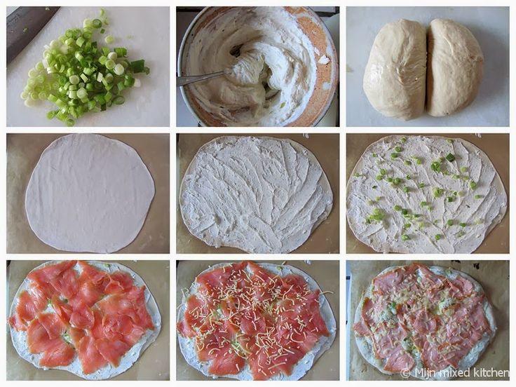Mijn mixed kitchen: Pizza met gerookte zalm, roomkaas, rucola, citroen en dille