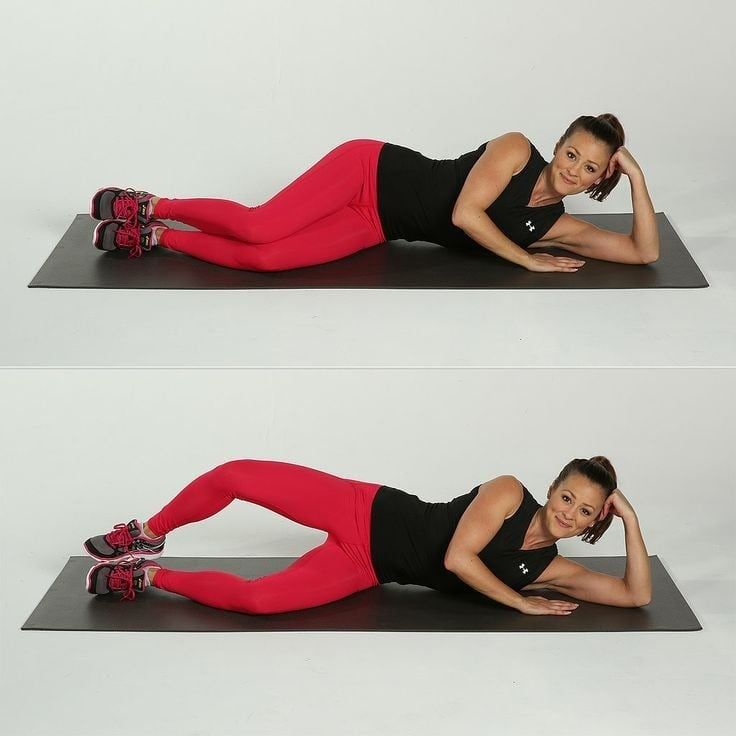 This exercise targets your outer thighs, and you can even do it while you're watching TV! Full directions here.