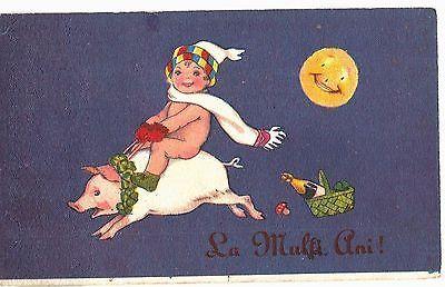 Romania-1925-New-Year-Fantasy-Child-Riding-a-Pig-Mushroom-Funny-Postcard