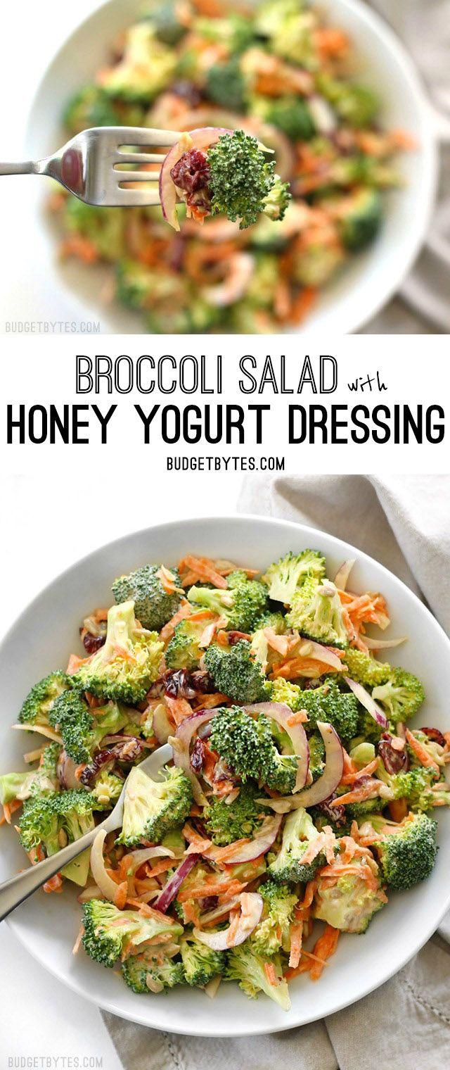 Broccoli Salad with Honey Yogurt Dressing is light and refreshing raw salad for summer. @budgetbytes