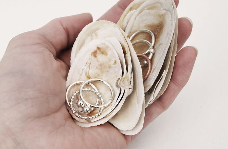 Thin silver rings in 100% natural materials by Mila Silver.  Create your own stack of rings.  World Wide Shipping