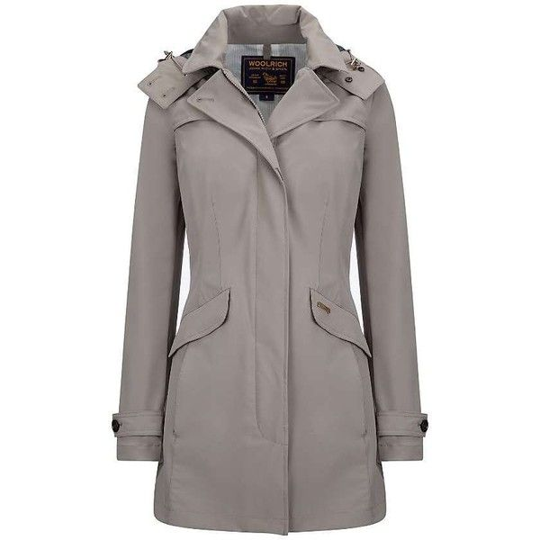 Woolrich John Rich & Bros. Women's Fayette Coat ($450) ❤ liked on Polyvore featuring outerwear, coats, sea fog grey, long gray coat, grey coat, gray coat, long coat and long hooded coat