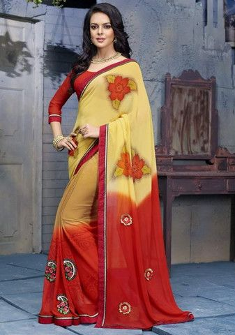 Yellow & Red Color Georgette Special Events Sarees http://www.shopcost.in/saree