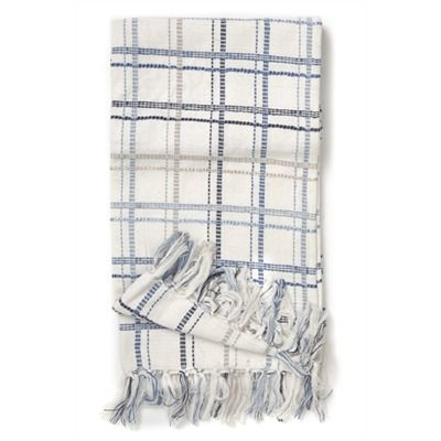 bayside blue/white check throw 50x60