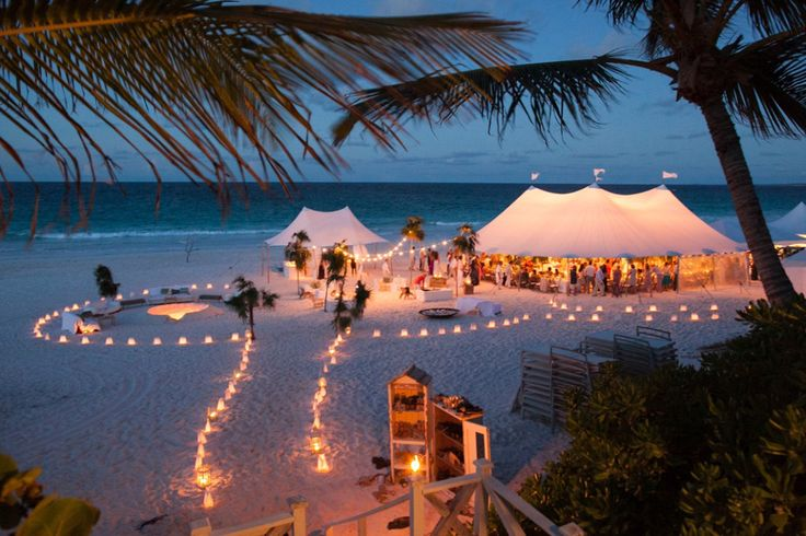 Victoria Lampley and Michael Berens, Harbour Island, Bahamas. I love tea lights and lights on a string.