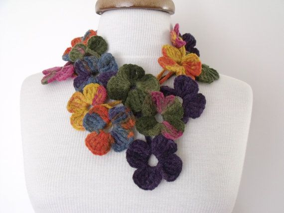 Multicolor Lariat Scarf Necklace Hand by knittingshop on Etsy