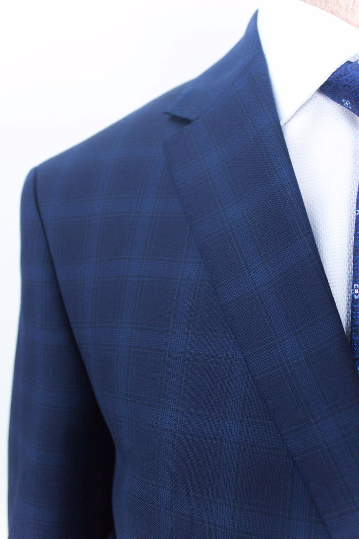 Navy Check Wool Suit