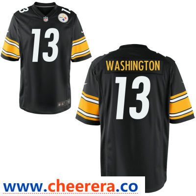 70c9373ca41 Men s Pittsburgh Steelers  13 James Washington Black Team Color Stitched  NFL Nike Game Jersey