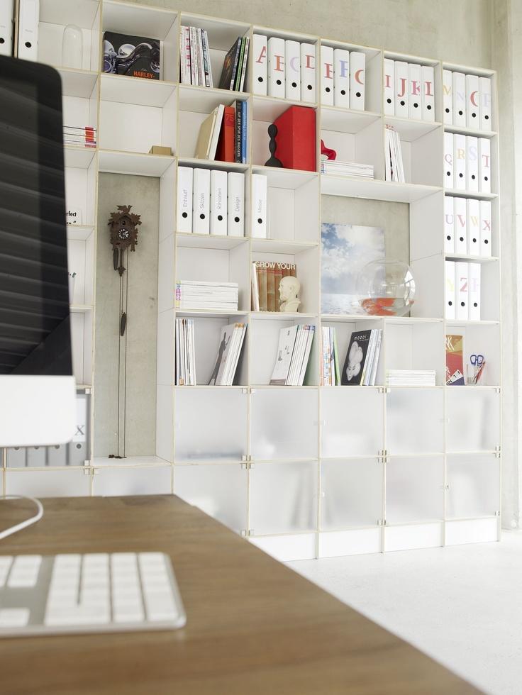 Büroregal weiß // Office shelf white www.regalsystem-rio.de