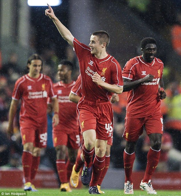 Jordan Rossiter celebrates scoring on debut for Liverpool against Middlesbrough in the League Cup in 2014