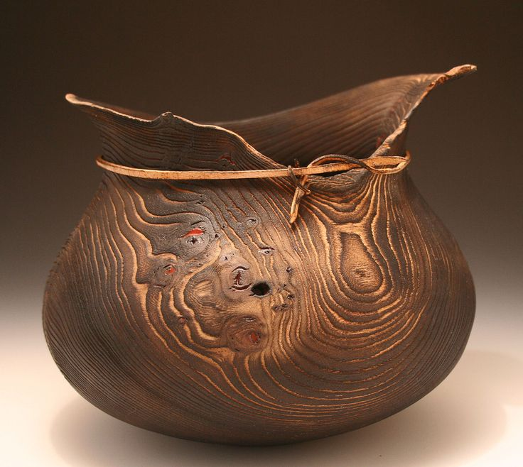 """Ric Romano, """"Ancient Olla"""" Elm. scorched, bent wood, resin"""
