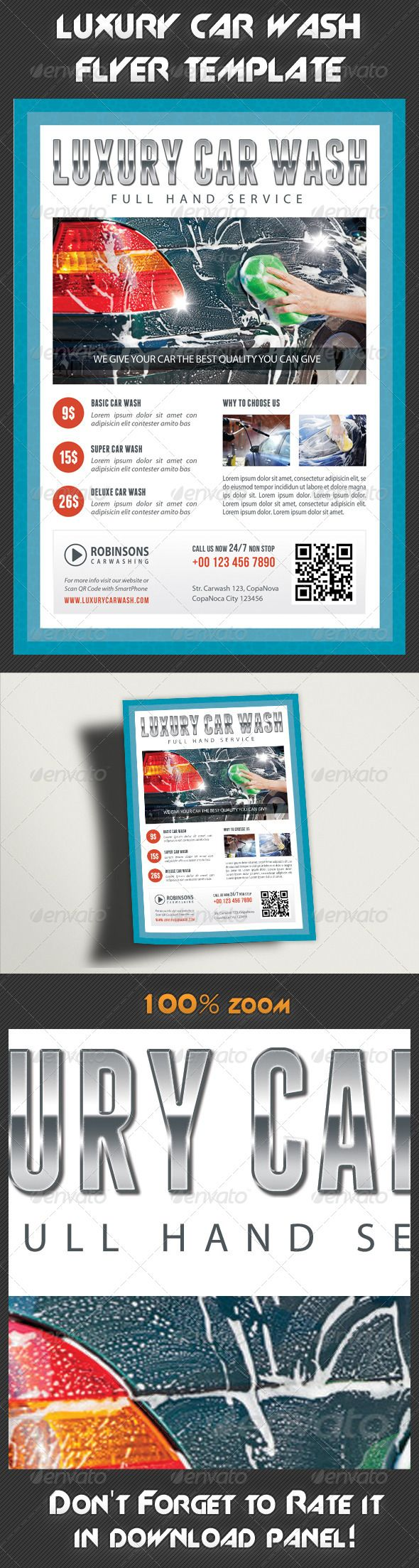 Perfect for a wide range of car wash related businesses like: Car Wash & Auto Detailing Services or Car Wash Equipment. Pack Included:   Flyer Template  PSD file  Print size: 216x154 mm ¨C 6x8.5 inches  Trim size: 210x148 mm ¨C 5.8x8.3 inches  Print Ready