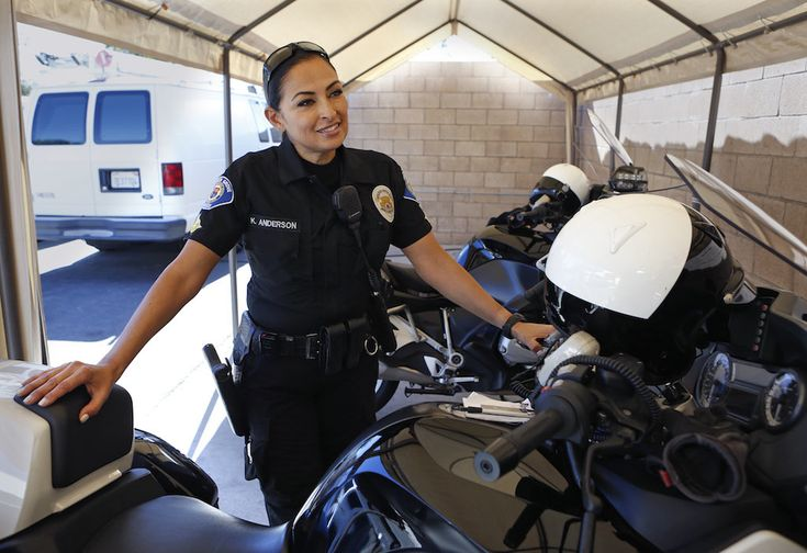 Garden Grove Police Department's Katherine Anderson is in her third tour of duty with motorcycle unit.  Photo by Christine Cotter