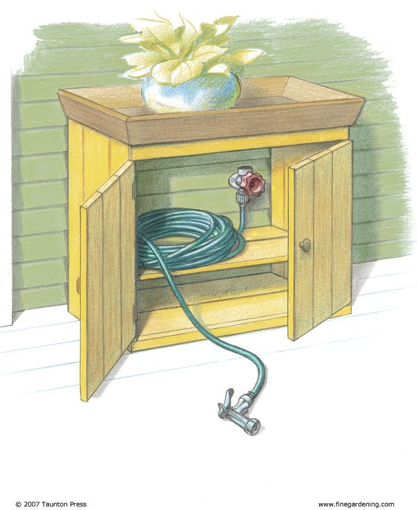 Great idea! Outdoor faucet and hose are by my front door. To disguise them, I bought a small cabinet, painted it to match the house, and cut out the back panel. I placed the cabinet so that the spigot was in the back of the cabinet. The hose, attached to the faucet, sits inside, out of sight behind the closed doors. When I need to use the hose, I just pull out the hose and turn on the faucet. I can also store my sprinkler in the cabinet so that it's close at hand when I need it.