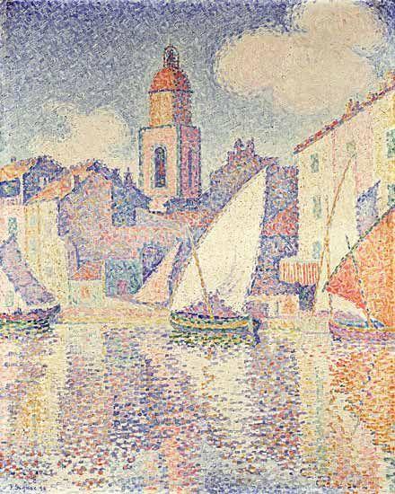 Paul Signac - Clocher au port des St. Tropez.