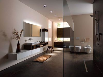 6 belles salles de bains minimalistes meuble suspendu modulable et le cr ateur. Black Bedroom Furniture Sets. Home Design Ideas